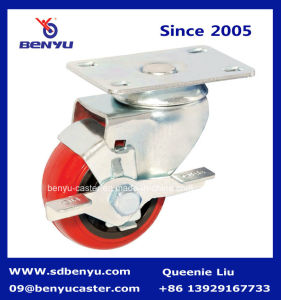 European Type Red PU Caster with Total Brake pictures & photos