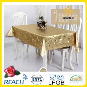 Metal PVC Golden and Embossed PVC Tablecloth in Rolls for Wedding pictures & photos