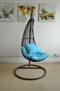 Hand Crafted All Weather Polycane Wicker Chair Swing Egg Shape. pictures & photos