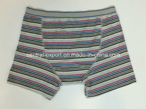 New Style Men′s Boxer Short Underwear with Yarn-Dyed Stripe and Opeing pictures & photos