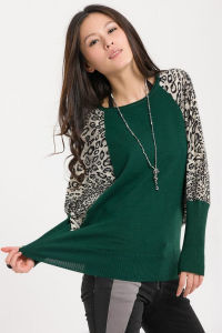 Women Fashion Acrylic Knitted Leopard Loose Sweater (YKY2015) pictures & photos