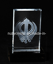 Khanda Symbols of Sikhism in Crystal Block for Souvenir pictures & photos