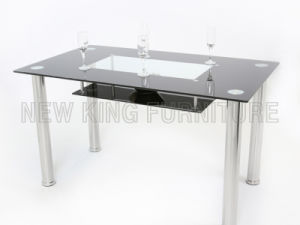 Modern Black Temper Glass Top Chrome Steel Foot Dining Table (NK-DT003)