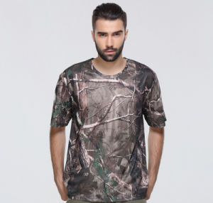 Hot Sale Sublimation Printing Summer Round Neck Short Sleeves Wear-Resisting Dry Fit Slim T Shirt pictures & photos