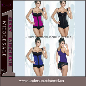 4 Colors High Quality Sexy Latex Corsets with Shoulder (7423) pictures & photos