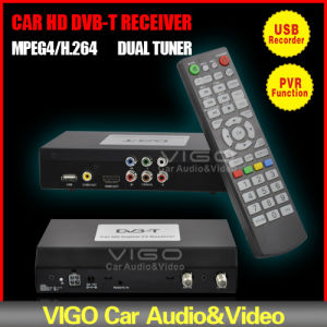 Car Digital Dual TV Tuner DVB-T MPEG-4