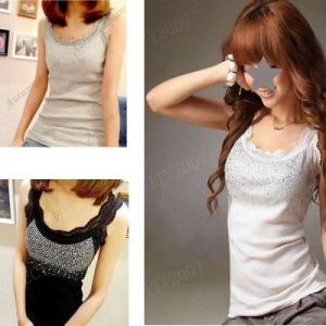 Women′s Sequin Lace Tank Top Camisole Vest