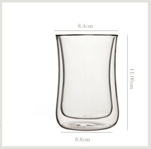Hand-Made 300ml Double Wall Glass Cup pictures & photos