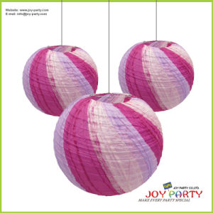 Purple Ribbed Round Paper Lantern for Wedding Decoration