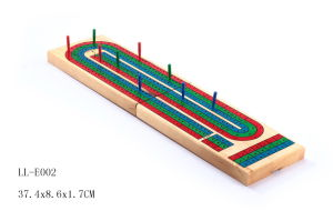 Solid Wood 3 Track Board Cribbage Game with Plastic Pegs