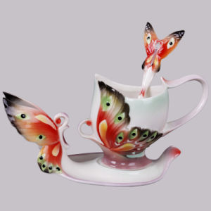Factory Outlet New! Porcelain Buckeye Butterfly Cup Saucer Set (AS-01326)