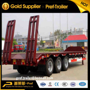 Tri Axles 40tons/50tons Lowboy Semitrailer with Mechanical Ramp