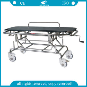 AG-HS014 Artificial Leather Mattress Stretcher Trolley pictures & photos