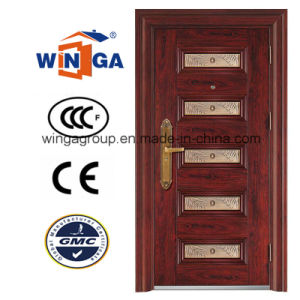 Luxury Lobby Style Steel Security Metal Door (W-S-19) pictures & photos