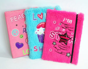 Embroidery Plush Cover Notebook with Black Elastic Rope pictures & photos