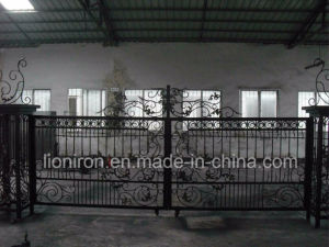 Super Quality Hand-Crafted Wrought Iron Double Swing Gates pictures & photos