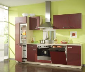 New Design Red Colour UV Faced Kitchen Furniture (FY5647) pictures & photos