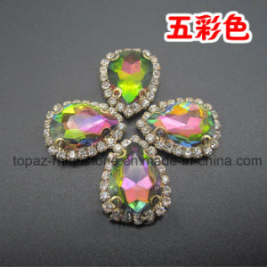 Rainbow Color Preset Rhinestone in Sew on Mounting (SW-8*13) pictures & photos