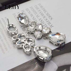 Transparent Faceted Glass Square Oval Water Drop Wedding Earrings pictures & photos