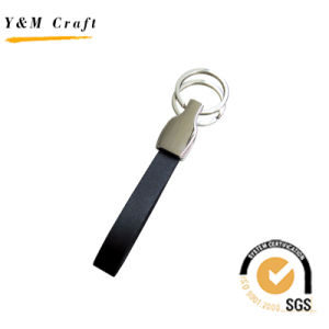 High Quality Fashion Blank Leather Metal Keychain (Y02043) pictures & photos