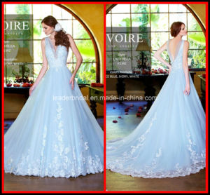 Light Sky Blue Ball Gown Appliques Tulle Bridal Wedding Dress Zy10002 pictures & photos