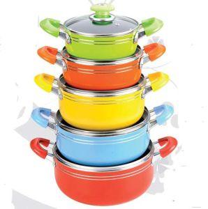 10PCS Aluminum Non-Stick Cookware Set (LF1826-10) pictures & photos