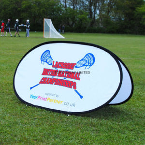 Oval Outdoor Sports Advertising Sign Banners and Telescopics Folding Frame Vertical Pop out Golf Pop up Display Exhibition Oval Pop out Banner Bean Banner Stand pictures & photos