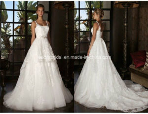 Spaghetti Lace Ball Gowns Court Train Wedding Bridal Dresses Z5057 pictures & photos
