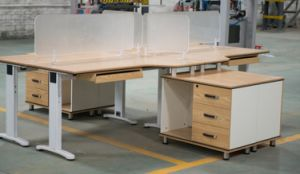T-Shape with Transparent Partition Workstation Mobile 3 Drawers pictures & photos