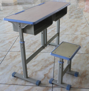Hot Selling Plastic Double Studend Desk and Chair Set pictures & photos