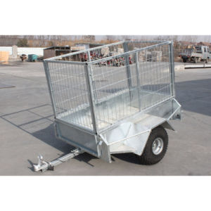 Farm Hot Galvanized Tandem Box Cage Trailer for Sale pictures & photos