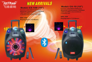 10 Inch Stage Trolley Speaker with 6600mAh Battery Bluetooth Cx-10 pictures & photos