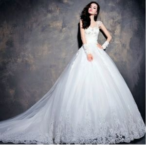 Elegant V-Neck A Line Satin Ivory Wedding Gown Bridal Dress