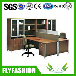 High Quality Office Furniture Wooden Staff Desk with Wall Cabinet (PT-63) pictures & photos