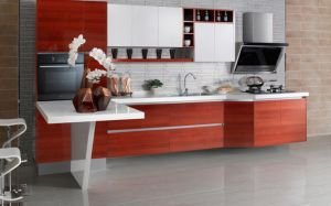 2017 White and Black Melamine Kitchen Cabinet Designs (zg-017)