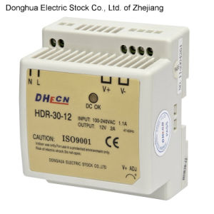 HDR-30 Single Output DIN Rail Type Switching Power Supply Output 88-264VAC to 12VDC 2A pictures & photos