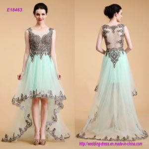 Modern Sleeveless Embroidered Lace on The Top and Edge A Line Evening Dress with Short in Front and Long Skirt on The Back pictures & photos
