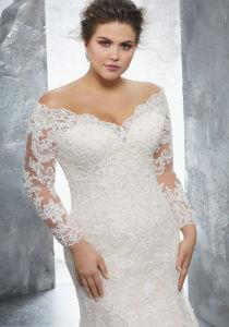 3/4 Sleeves Bridal Dress Lace Appliqued Plus Size Wedding Gown Lb3231 pictures & photos