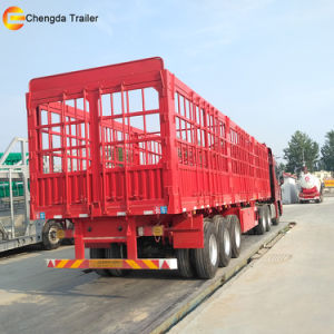 3 Axle Red Fence Cargo Semi Trailer for Sale pictures & photos