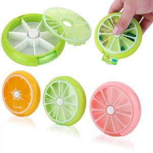 Round Travel Pill Organizer Holder Weekly Plastic 7 Day Pillbox pictures & photos