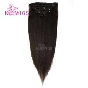 High Quality Human Remy Hair Virgin Brazilian Hair Clip in Hair Extension pictures & photos