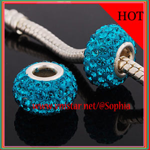 925 Sterling Silver Beads in Blue Crystal Stone