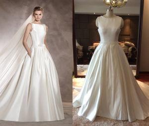 Embellished Neckline Satin Wedding Gown pictures & photos