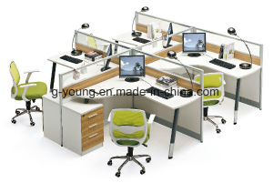 Popular Computer Desk Wood Office Furniture with Partition pictures & photos