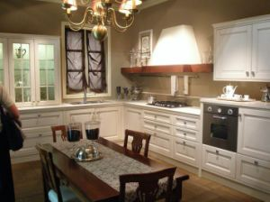 Alder Solid Wood Kitchen Wooden Furniture with Natural Granite Counteritp and Stainless Steel Sinks and Chrome Handles pictures & photos