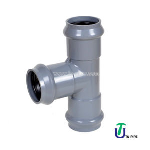 UPVC Three Faucet Regular Tees DIN Pn10 (Rubber Ring) /PVC Pipe Fittings pictures & photos