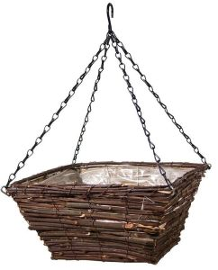Black Rattan Square Hanging Basket, 12-Inch pictures & photos