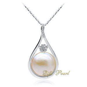 925 Silver Pendant With Mabe Pearl and CZ (HP100602)