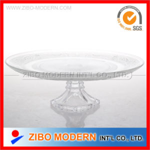 Wholesale Clear Glass Plates Big Glass Plate with Base for Fruit pictures & photos