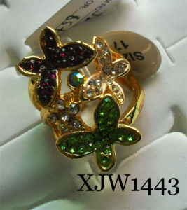 Diamond Butterfly Flower Alloy Ring (XJW1443) pictures & photos